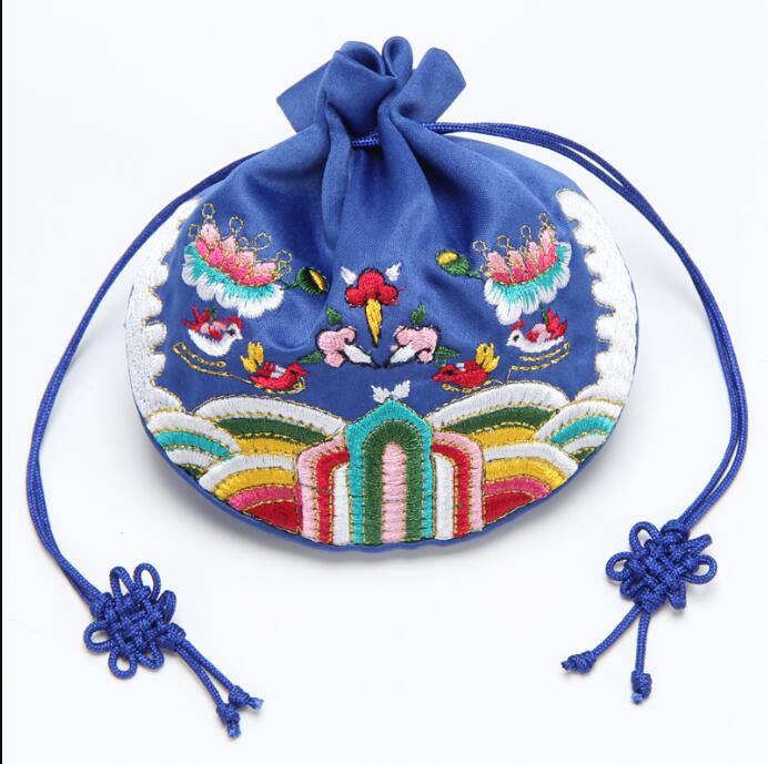 Free Shipping 11 12 cm Embroidery Cloth Gift Bag Vanilla Drawstring Beam Drawstring Packaging Bag 3 pcs Wedding Packaging in Gift Bags Wrapping Supplies from Home Garden