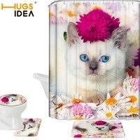 HUGSIDEA 4PCS/SET Flowers Portrait Cat Polyester Shower Curtain Bathroom Waterproof Pedestal Rug Lid Toilet Cover Bath Mat