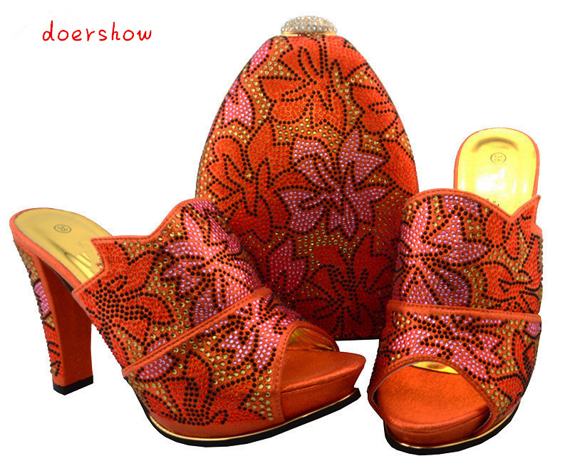 doershow latest design matching italian shoe and bag set.orange wedding and party with,38-43 BCH1-35