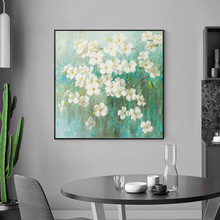 Abstract White flower Green Tree Painting Acrylic Wall Art Pictures Canvas Hand painted  Decoracion for living room Home Decor