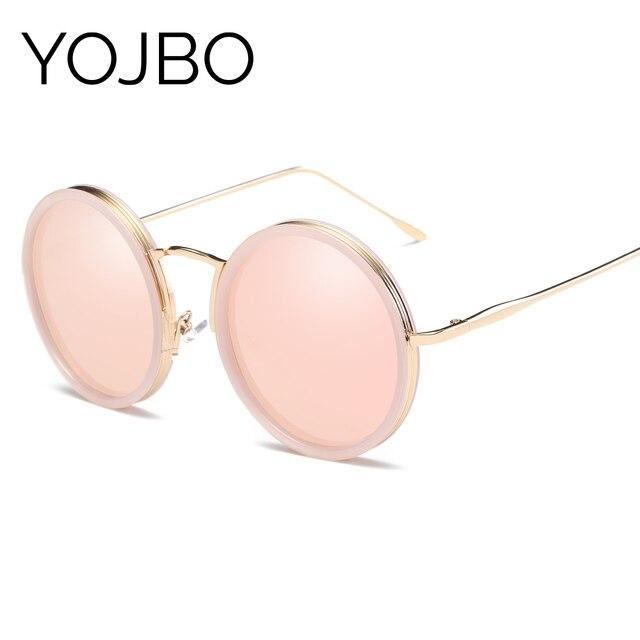 YOJBO Ronde Polarisées Femmes lunettes de Soleil 2017 De Mode Rétro Miroir Lunettes de Soleil UV400 Oculos Alliage Vintage Marque Designer Lunettes