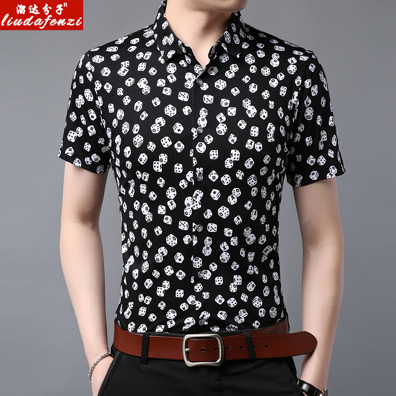 Summer Men/'s Short-sleeved Botton Down Casual Shirts Dot Printed Cotton Shirts