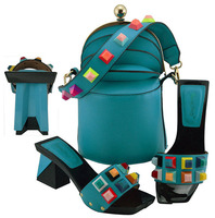 Lake blue Color Italian Shoes with Matching Bag High Quality African Nigeria bag and shoe set for Party In Women MD011