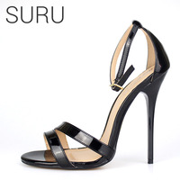 SURU Sexy Strap Sandals Heels Women Large Size Shoes Patent Black Red High Heels Sandals Big Size 11 12 13 14 15