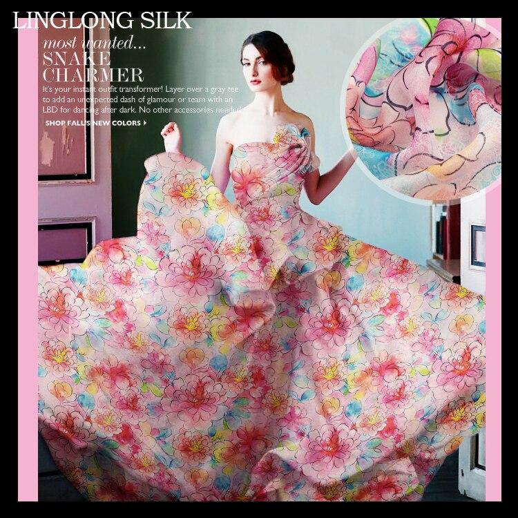 Mousseline de soie imprimée 135 cm largeur 8 momme/100% mousseline de soie Pure naturelle pour la couture 2016 printemps Floral femmes robe