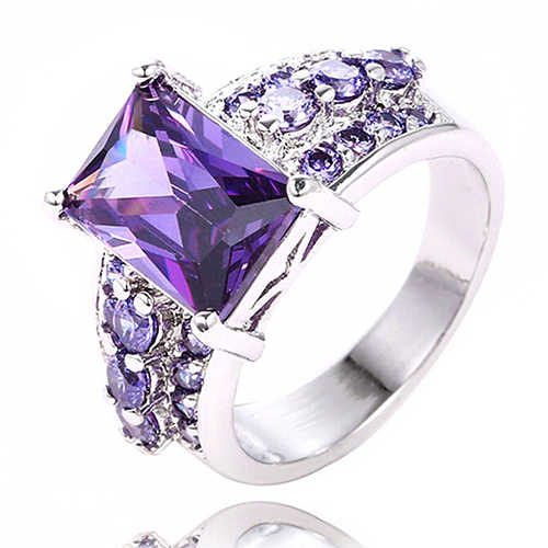 Women's Noble Silver Plated Crystal Purple Zircon Ring Solitaire W/ Accents