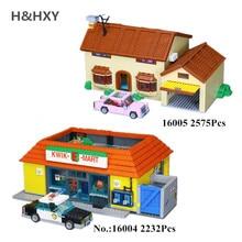 H & HXY в наличии 16004 16005 Симпсоны Барт Гомер Kwik-E-Mart модель LePin строительный блок кирпичи Совместимость 71016