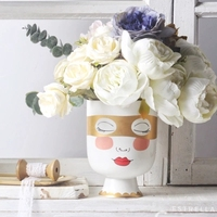 Little Girl Head Matte Table Flower Vase Woman Face Golden Eye Mask Flower Arrangement Big Mouth Desk Pot Home Decorative Bottle