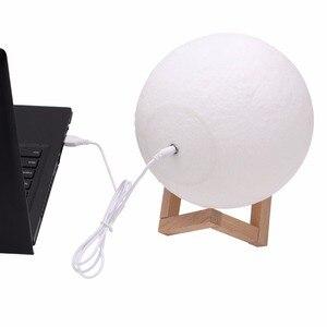Image 4 - 3D ירח מנורת מגע חיישן/שלט רחוק חידוש LED לילה אור Luminaria Lua 3D ירח אור עבור תינוק ילדים שינה בית תפאורה
