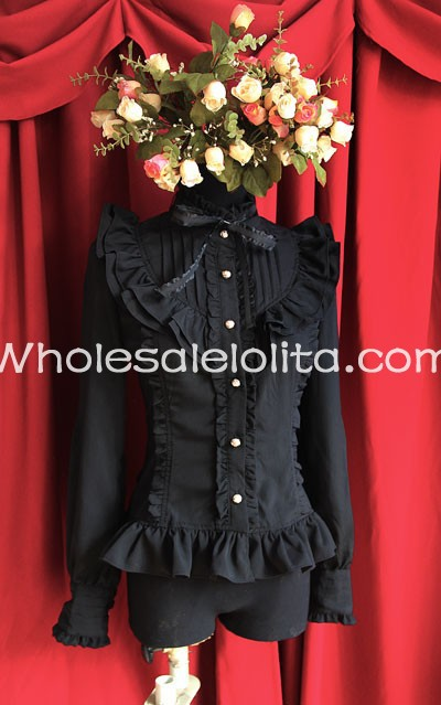 Ladies Black Chiffon Stand Collar Long Sleeves Ruffled Lolita Blouse Shirt Gothic Custom Made - Victorian Dress | Prom Party Dress| Wedding store