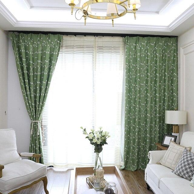Cortinas de cortina bordadas hoja vid Simple moderna para el dormitorio del  comedor