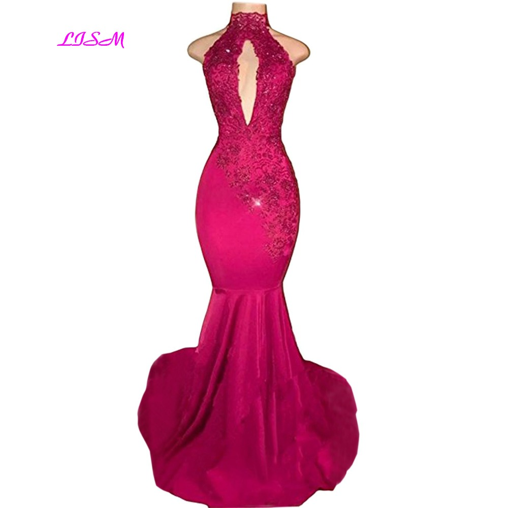 Sexy Halter Mermaid Prom Dresses 2019 Long Lace Appliques Evening Dress African Black Girls Backless Long