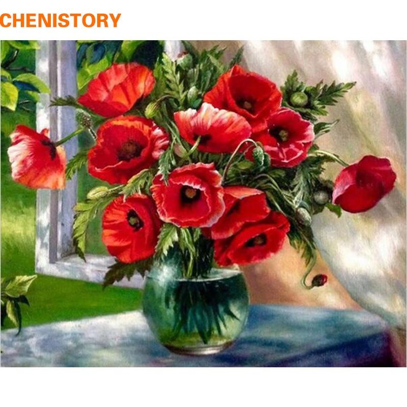 CHENISTORY Sem Moldura Flores Vermelhas Pintura de DIY Por Números Pintados À Mão Pintura A Óleo Pintura Acrílica Sobre Tela Para Home Decor 40x50