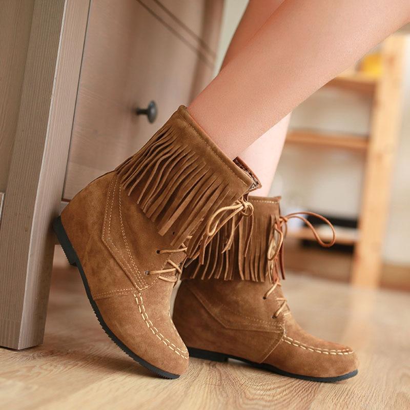 Aliexpress.com : Buy Women's Tassels Boots Lace up Retro style ...