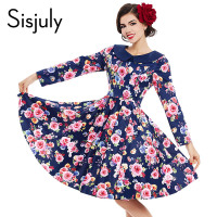 Sisjuly Pin Up Women Vintage Dress Summer Blue Floral Print Ruffle Collar Long Sleeve Party Dress
