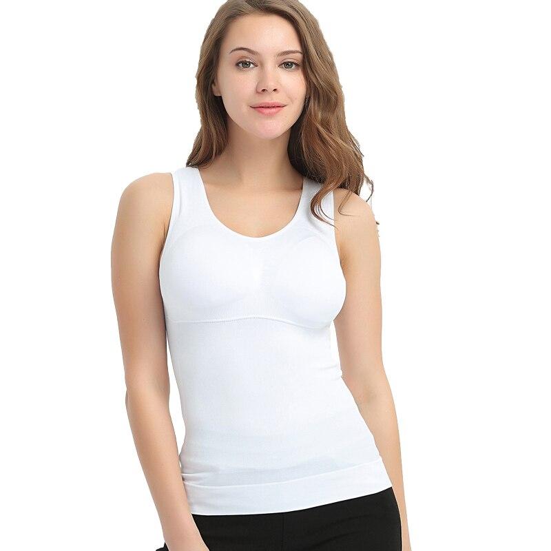 5b8cb41581a13 Dropwow 2017 Plus Size Bra Cami Tank Top Women Body Shaper Removable ...