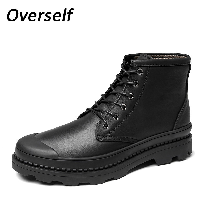 Winter Men Ankle Boots WarmSnow Shoes High Quality Man Boot Genuine Leather  Mens shoes Footwear Plus Big Size Eur 45 46 47Winter Men Ankle Boots WarmSnow Shoes High Quality Man Boot Genuine Leather  Mens shoes Footwear Plus Big Size Eur 45 46 47