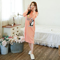 2016 Fashion Autumn Cute Women Nightwear Dress Long Sleeve Cotton Sexy Nightgown Long Nightgown Sleepwear Plus Size