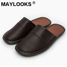 Men Slippers Spring And Autumn genuine Leather Home Indoor Non – Slip Thermal Slippers 2018 New Hot Maylooks M-8808