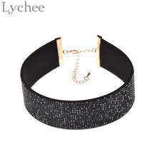Lychee 1 piece Gothic Punk Multicolor Wide Leather Choker Necklace 90s Rhinestone Crystal Choker Collar Jewelry for Women