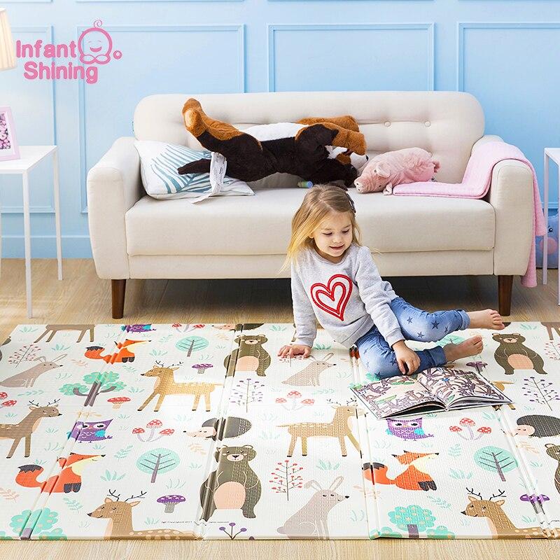 Bebé brillante bebé estera Xpe rompecabezas los niños Mat engrosada Tapete Infantil bebé arrastrándose Pad plegable estera bebé alfombra