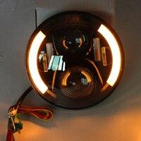 7 Inch H4 LED Motorcycle Headlight Bulbs With Halo LED Headlamp High Low Motos Light Bulbs