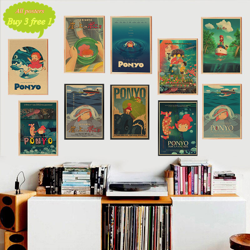 Ponyo On The Cliff Miyazaki Hayao Kraft Paper Classic Cartoon Film Poster Home Decor Wall Sticker