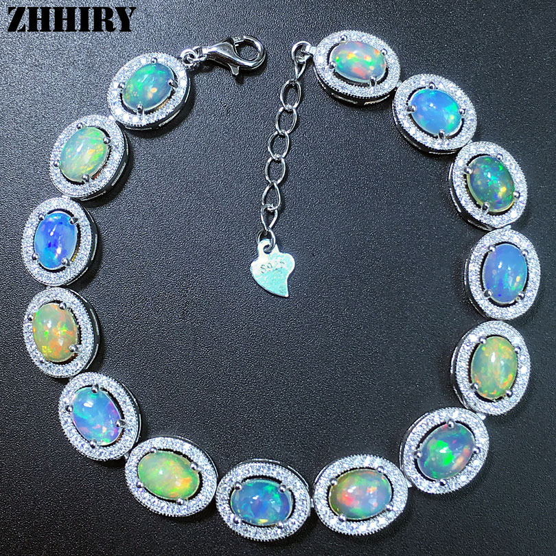 ZHHIRY Women Natural Opal Gem Bracelet Genuine Solid 925 Sterling Silver White Fire Color Precious Stone