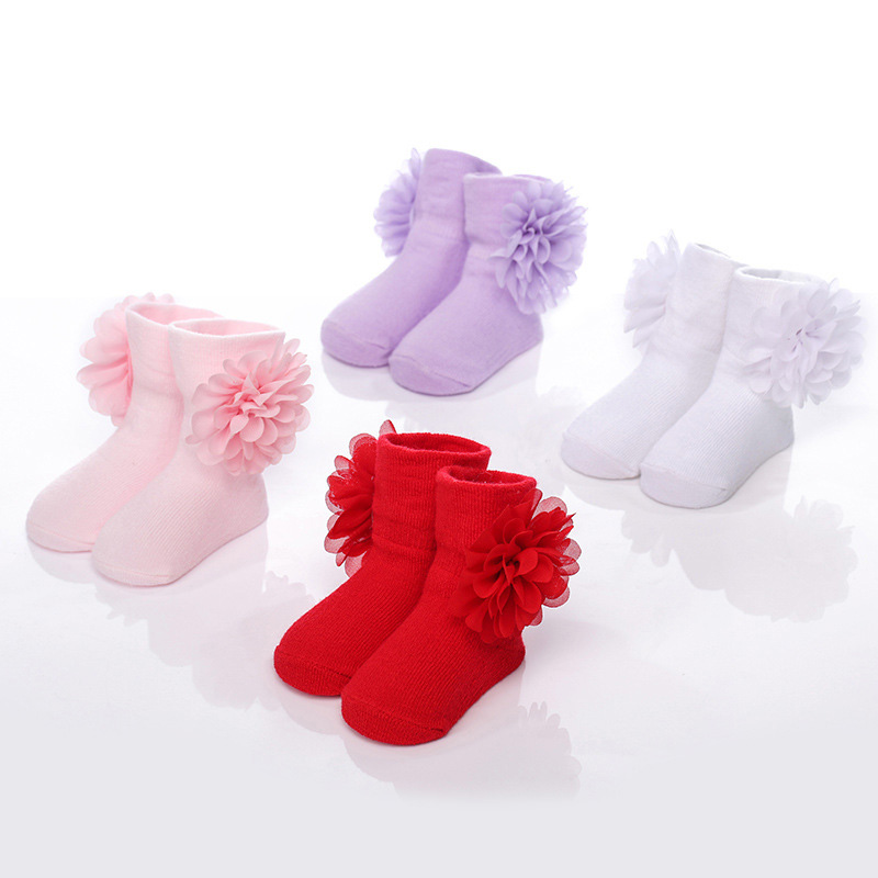 Fashion Flowers Baby Cotton Socks Chiffon Flower Girls Socks