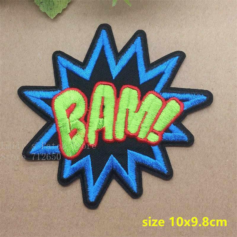 Nouveauté 10 pièces bam pow WOW BANG brodé patch fer sur Applique vêtements chaussure chapeau broderie patch badge accessoires à créer soi-même