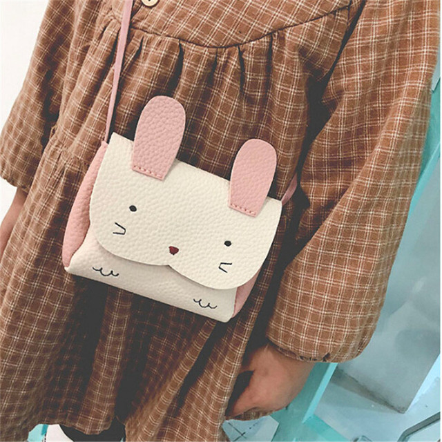 PU Leather Kids Rabbit Mini Messenger Bag Girls Handbag Coin Purse Children Crossbody Bag Lady Crossbody Bag Bolsa