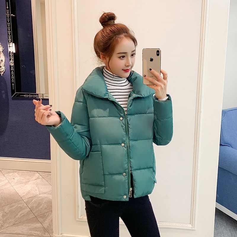 2019 куртки женские зимние модные теплые плотные повседневные уличные хлопковые стеганые парки пальто воротник стойка Верхняя одежда chaquetas mujer