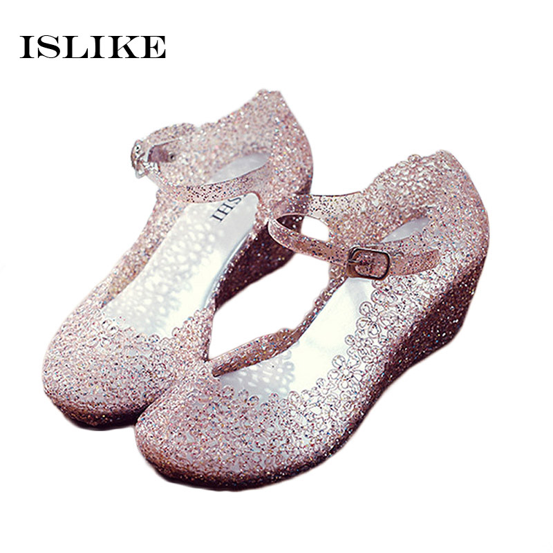 Islike New Plastic Sandals Women Sandales Pvc Hollow Hole Wedges Crystal Shoes Jelly Bling  Sandal Cute Girls Casual Beach Shoes