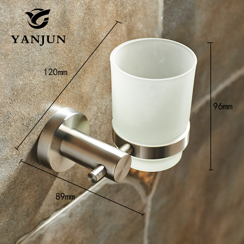 Yanjun Fashion 304 Stainless Steel Single Cup Tumbler Holder Wall Mounted Toothbrush Cup Holder Bathroom Accessories YJ-7564 stainless steel double tumbler toothbrush holder cup bracket set wall mounted