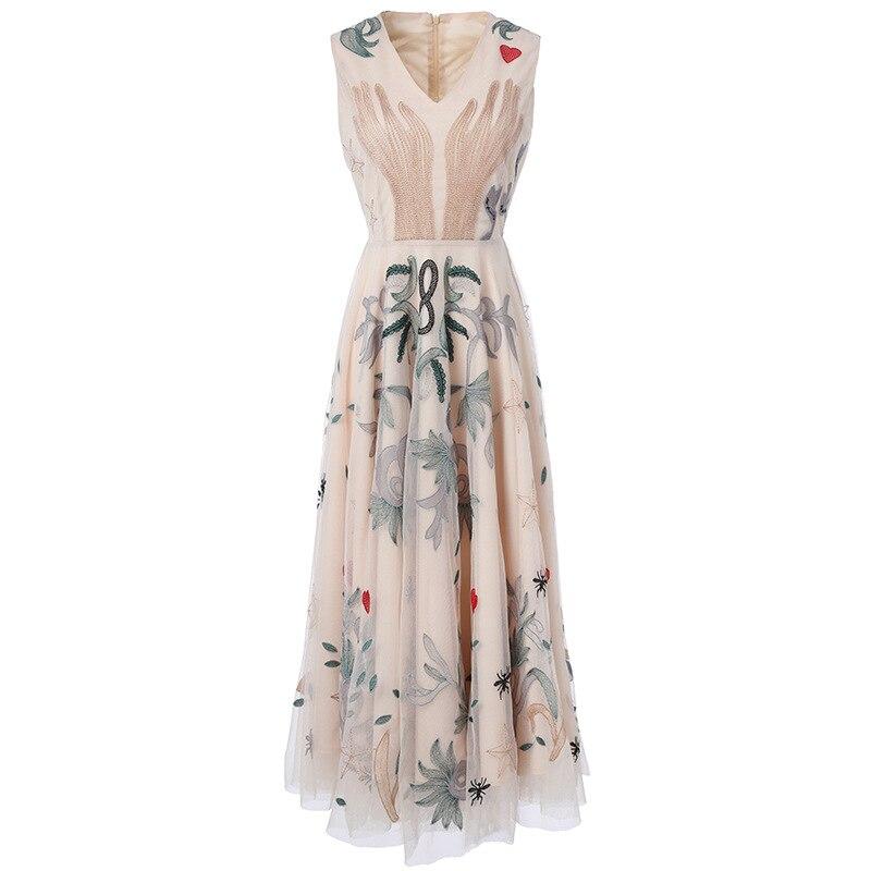 New summer chiffon dress female embroidery flower animals sleeveless v neck long E0627 a line