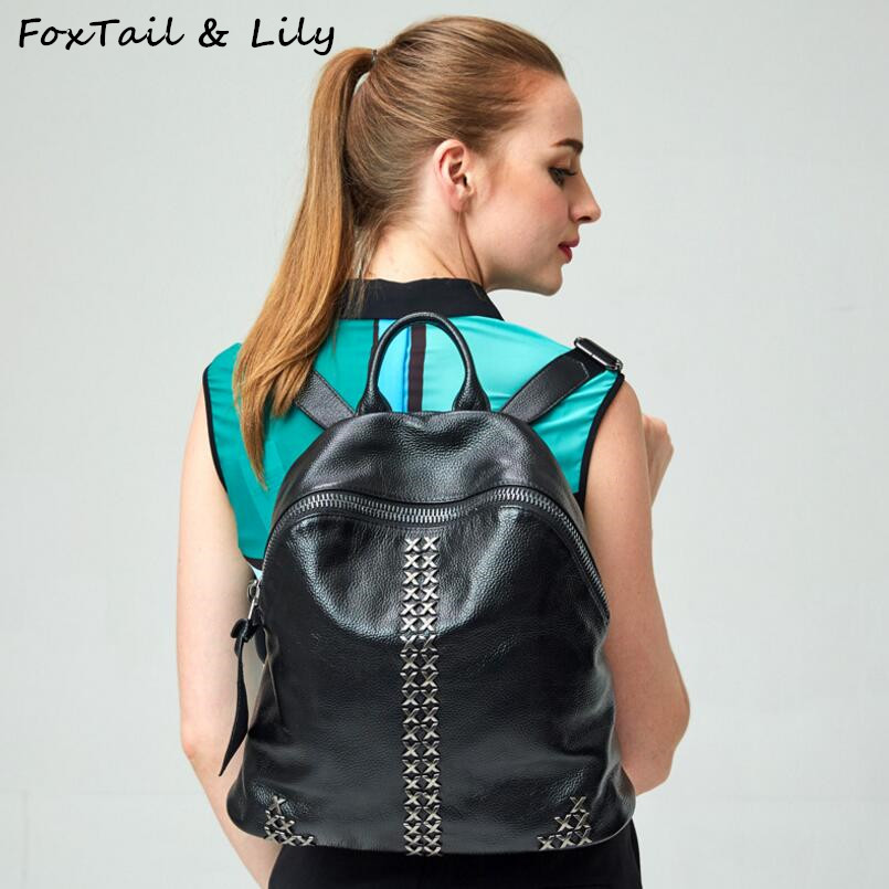 FoxTail & Lily 100% Genuine Leather Women Backpacks Fashion Rivets Backpack Popular Brand School Bags for Girls Summer Hot Sale