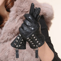 Natural Leather Gloves women handschoenen 100% Soft Sheepskin hedgehog zipper revits driving gloves Black S/ML