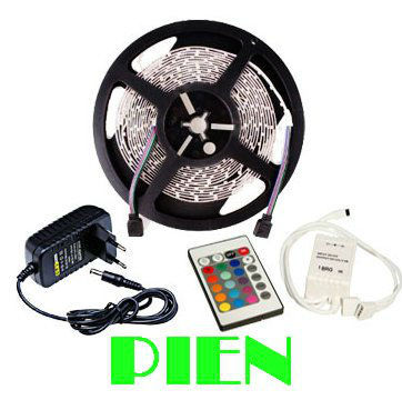 Leds strip light tape light-emitting diode rgb smd 5 m fita de tiras natal levou with controle remoto Power supply Free shipping