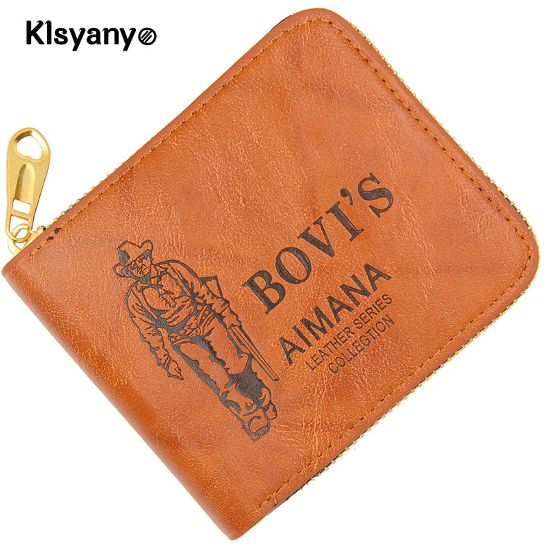 Klsyanyo Men Wallets Male Purse PU Leather Wallets Mini Short Card Holder Wallet Clutch Zipper Mens Coin Purse Leather Wallet baellerry small mens wallets vintage dull polish short dollar price male cards purse mini leather men wallet carteira masculina