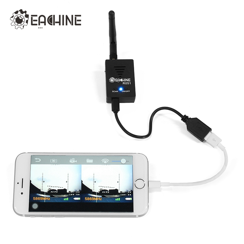 Eachine R051 150CH 5.8G FPV AV Recevier Build in Bat For iPhone Android IOS Smartphone Mobile Tablet VS ROTG01 UVC OTG for RC fpv mini 5 8g 150ch mini fpv receiver uvc video downlink otg vr android phone tablet pc fpv mobile phone display receiver