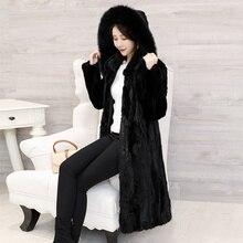 2018 ใหม่ผู้หญิงชิ้นธรรมชาติ Mink Fur Coat Hoodie สไตล์ยาวแขนยาวขนสัตว์ฤดูหนาว Outwear