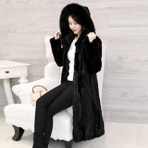 Image 1 - 2018 חדש נשים של חתיכות טבעי אמיתי מינק פרווה מעיל עם קפוצ ון ארוך סגנון מלא שרוול אמיתי פרווה החורף להאריך ימים יותר