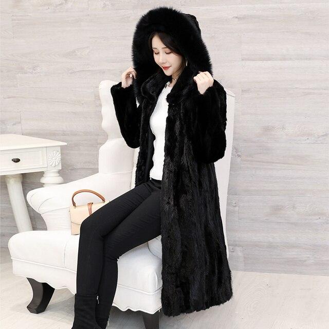 2018 חדש נשים של חתיכות טבעי אמיתי מינק פרווה מעיל עם קפוצ ון ארוך סגנון מלא שרוול אמיתי פרווה החורף להאריך ימים יותר