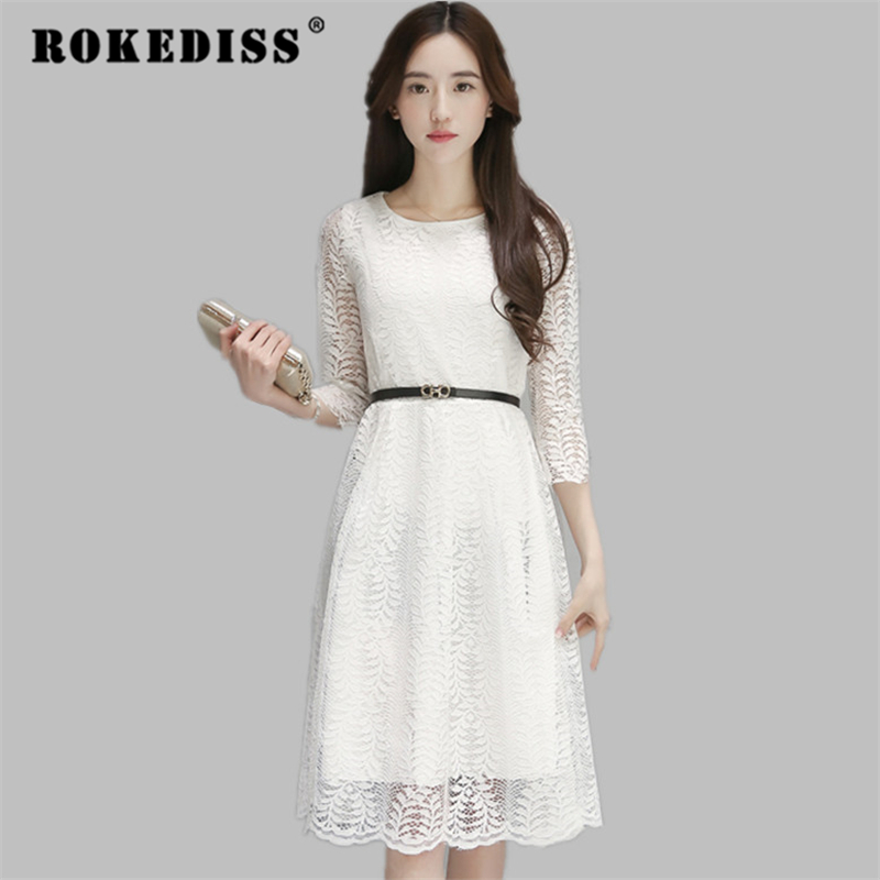 7dd61b69b60 2017 new hot sale Women pure lace o-neck dress lady plus size elegant  vestidos women s clothes dresses TG345