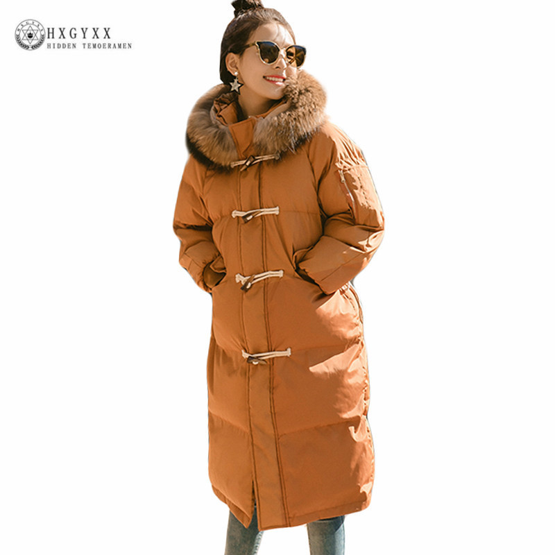 2017 Caramel Long Winter Coat Female Loose Plus Size Puffer Jacket Horn Button Fur Collar Hooded Parka Warm Woman Clothes Okb354 plus size winter jacket parka women long coat big hooded fur collar loose female clothes thick warm woman jackets ladies coats