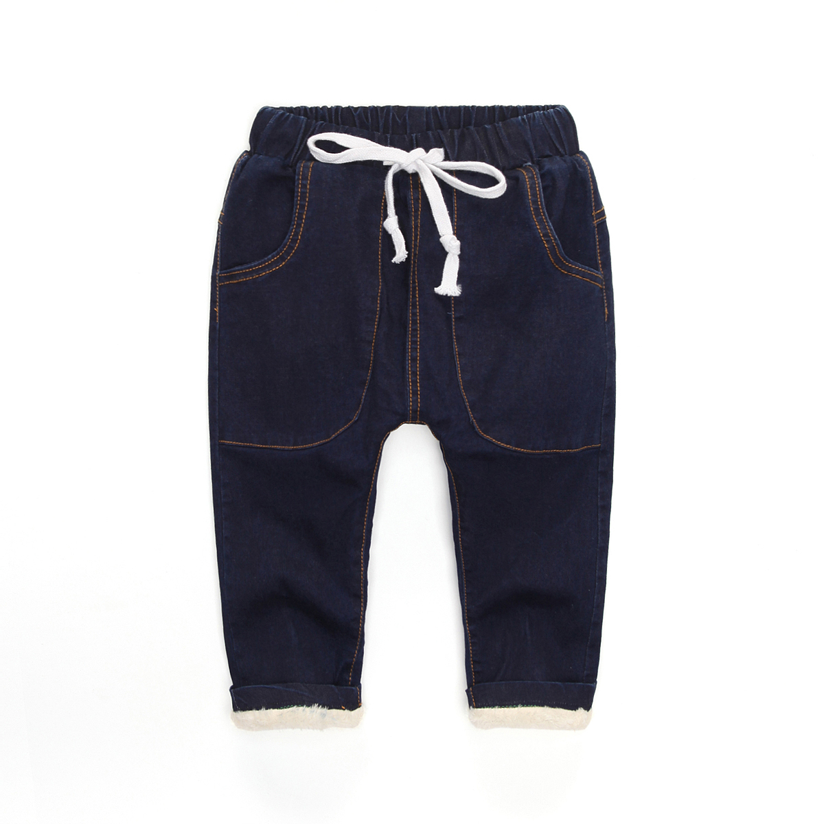 2017 winter child jeans boys fashion denim pants child fleece thickening long trousers boys baby harem pants