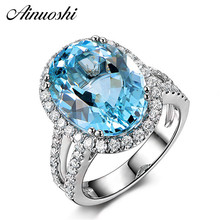 купить AINUOSHI Big Oval Blue Topaz Halo Ring 925 Sterling Silver Double Layer Band Natural Gemstone Wedding Engagement Ring For Women дешево