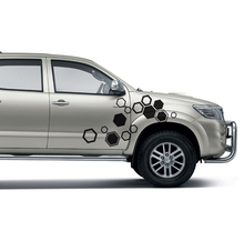 car modified decals 2PC hexagon pattern abstract geometric rear tail graphic vinyl custom for TOYOTA HILUX VIGO 2011