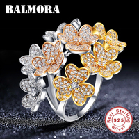 BALMORA 100% Real 925 Sterling Silver Creative Flower Zircon Rings for Women Lover Girl Gift Fashion Jewelry Anillos JWSR1879