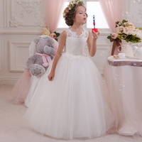 Flower Girl Dresses 2016 Ball Gown White Lace Sleeveless O Neck Long Wedding Pageant First Communion